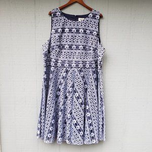Eliza J Lace Overlay Periwinkle Blue Fit Flare 24W